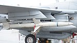 AGM-88 HARM mounted on U.S. Marine Corps EA-6B Prowler(163046) of VMAQ-2 right front view at MCAS Iwakuni May 3, 2015 01.jpg
