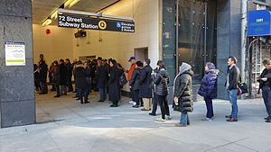72nd Street (Second Avenue Subway) - Crowds at Entrance 2 on opening day