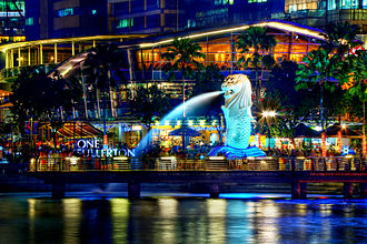 Singapore - A symbol of Singapore, the Merlion was erected in 1964