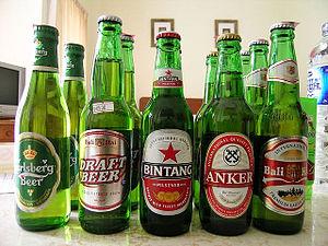 Beer in Asia - A beer assortment sold in Bali, Indonesia; Carlsberg, Bali Hai, Bintang and Anker Beer.