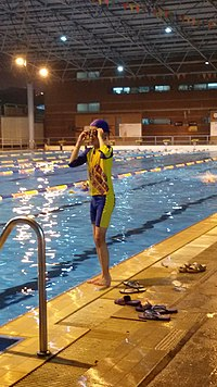 A boy wearing bodyskin (divided-version) in GZ3MS Swimming Pool.jpg