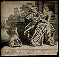 A dog looks on as a man and a woman smell a flower; represen Wellcome V0007699.jpg