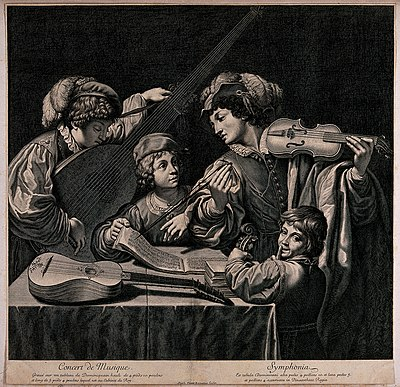 A group of musicians playing their instruments, one man is p Wellcome V0040573.jpg