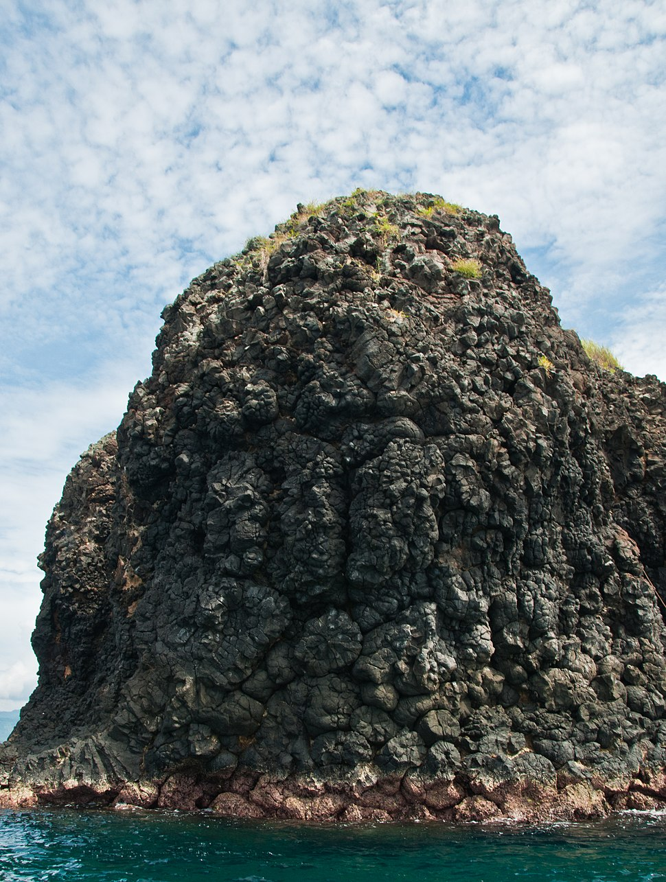 A small island made of pillow lava near Bali in Indonesia