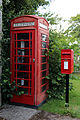 A telephone and post box on Red Lane, Shipley, West Sussex, England.JPG