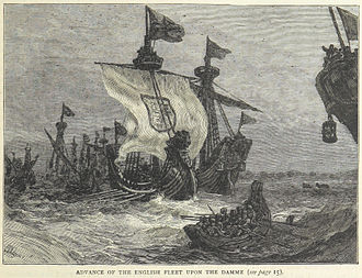 Battle of Damme - An 1873 illustration of the English attack