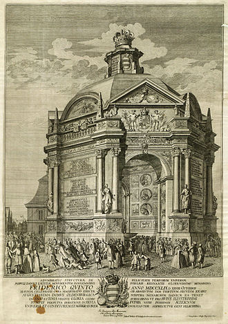 Jonas Haas - Temple of honor erected by the Copenhagen Magistrate in Gammeltorv square, to celebrate the 300 years jubilee of the ruling Oldenburg royal dynasty. Copperplate engraving by Jonas Haas, 1749