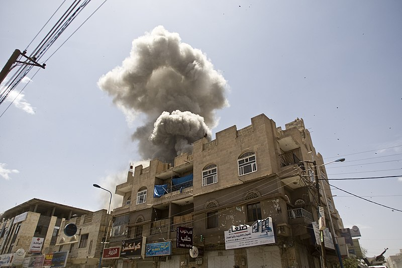 File:Aerial bombardments on Sana'a, Yemen from Saudi Arabia without the right aircraft. injustice - panoramio.jpg