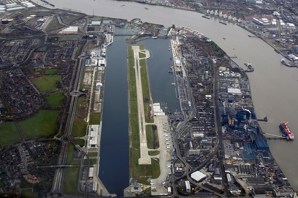 Aerial view of London City Airport 2007