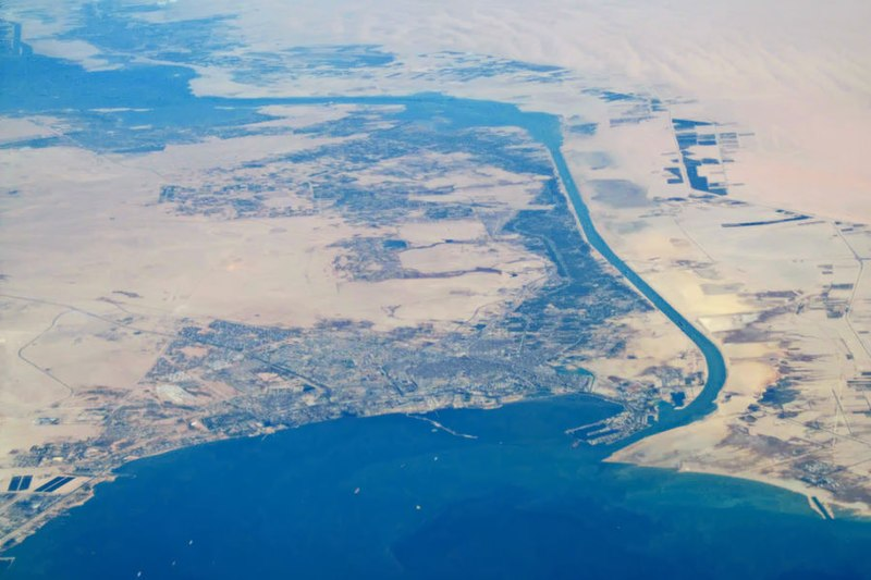 File:Aerial view of city of Suez and Suez Canal.jpg
