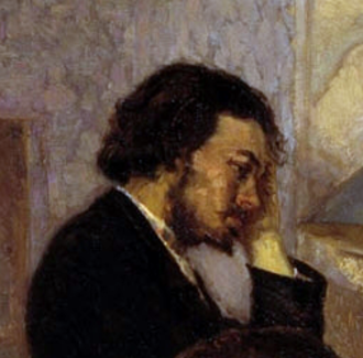 "Aleksey Afanas'ev - Aleksey Afanas'ev; detail from ""Visit to a Sick Friend"" by Kyriak Kostandi (1884)"
