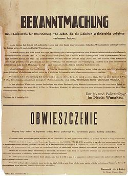 Announcement by the Chief of SS and Police 5.09.1942 - Death penalty for Poles for any help to Jews