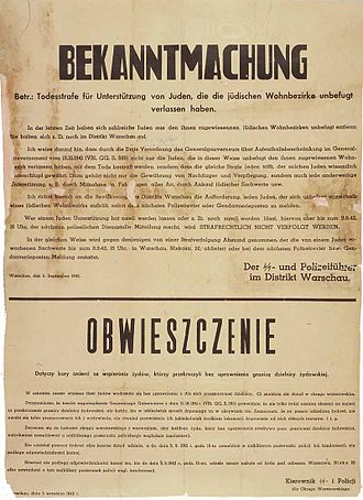 Irena Sendler - Nazi German poster in German and Polish (Warsaw, 1942) threatening death to any Pole who aided Jews