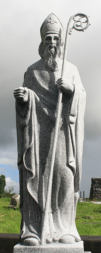Tírechán - Statue of St Patrick from Agahower.