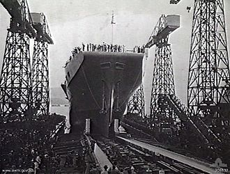 HMAS Sydney (R17) - Launch of HMS Terrible, which would later become HMAS Sydney