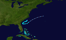 Track of an early season tropical storm off the southeastern United States coastline
