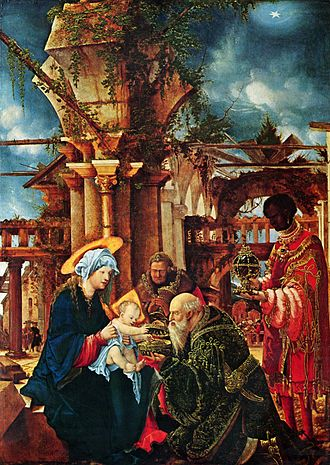 0s BC - Albrecht Altdorfer's painting the Adoration of the Magi (made ca. 1530) is one of several works of art concerning the Navity of Jesus. Though Jesus's exact birthdate is unknown (other than it would have occurred sometime during this decade)