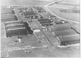 Alexandra Park Aerodrome - Photograph of the aerodrome in 1923 looking west over the two sets of large triple Belfast Truss hangars