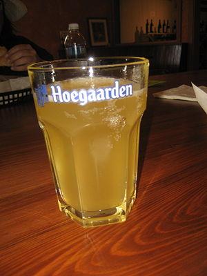 Hoegaarden Brewery - Hoegaarden wheat beer in its characteristic hexagonal glass