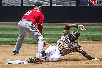 Abraham Almonte - Almonte (right) playing for the San Diego Padres in 2015