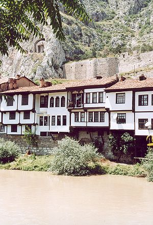 Amasya - Ottoman-era houses (foreground) and ancient Pontic tomb (background, left) in Amasya