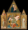 Ambrogio Lorenzetti - Rofeno Abbey Poliptych. Saint Michael the Archangel slaying the Dragon between Saints Bartholomew an... - Google Art Project.jpg