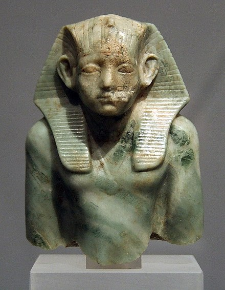 """Idealized style"" portrait of Amenemhat III. Amenemhet III 1800 BC Munich.jpg"