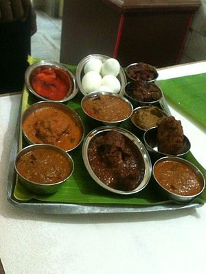 Chettinad cuisine -  A Non-vegetarian dish sample tray in Chettinad Hotel