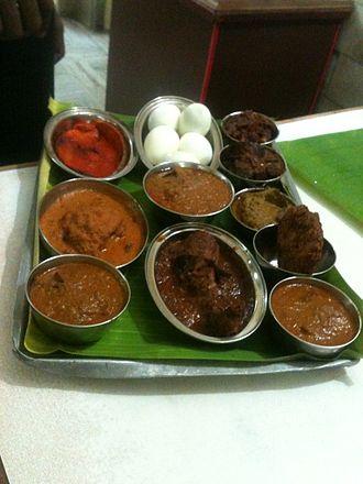 Chettinad cuisine - A non-vegetarian dish sample tray in Chettinad Hotel