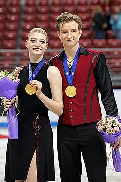 Anastasia Skoptsova and Kirill Aleshin at the 2018 World Junior Championships.jpg