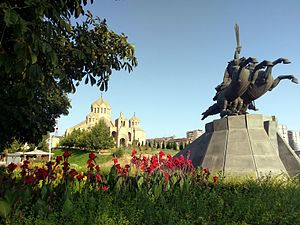 Saint Gregory the Illuminator Cathedral, Yerevan - Image: Andranik statue and Saint Gregory Cathedral 0812a