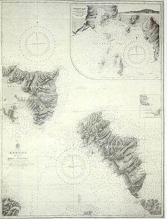 Andros - 1844 British Admiralty chart of Andros island and Cape Doro strait (today Kafireus strait)