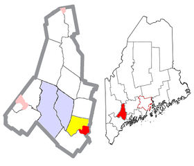 Androscoggin County Maine Incorporated Areas Lisbon and Falls Highlighted.png