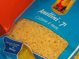 Anelli - Anellini, rings, in a grocery store in Venice