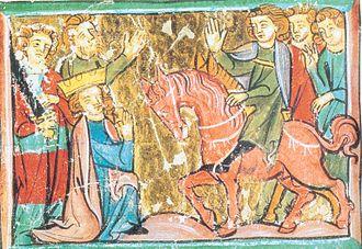 Chiavenna - Barbarossa kneeling in front of Henry the Lion, Sächsische Weltchronik (13th century)