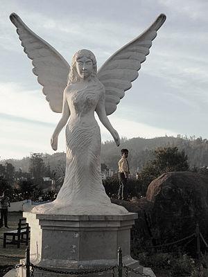 Government Rose Garden, Ooty - Angel statue in Ooty Rose Garden..