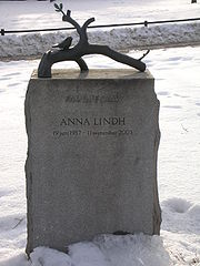 Anna Lindh's gravestone at Katarina kyrka in Stockholm.