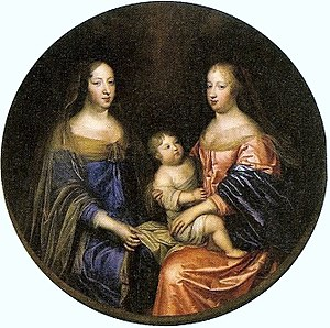 Maria Theresa of Spain - Two queens of France: Anne of Austria with her niece and daughter-in-law, Maria Theresa, and the latter's son Louis
