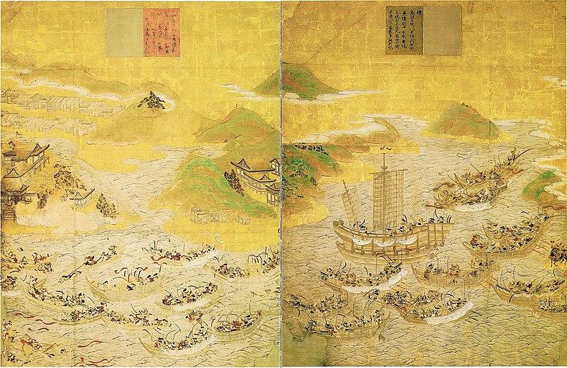 『安徳天皇縁起絵図』の壇ノ浦の戦い・赤間神宮所蔵/Wikipediaより引用