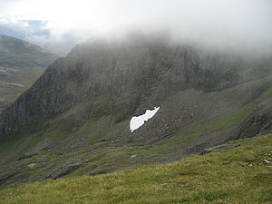 Snow patches in Scotland - Low-lying patch on Aonach Beag, 8 September 2008