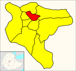 Arada (red) within Addis Ababa