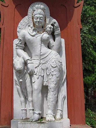 Sampurnanand Sanskrit Vishwavidyalaya - A contemporary Ardhanarishvara statue at Sampurnanand Sanskrit University
