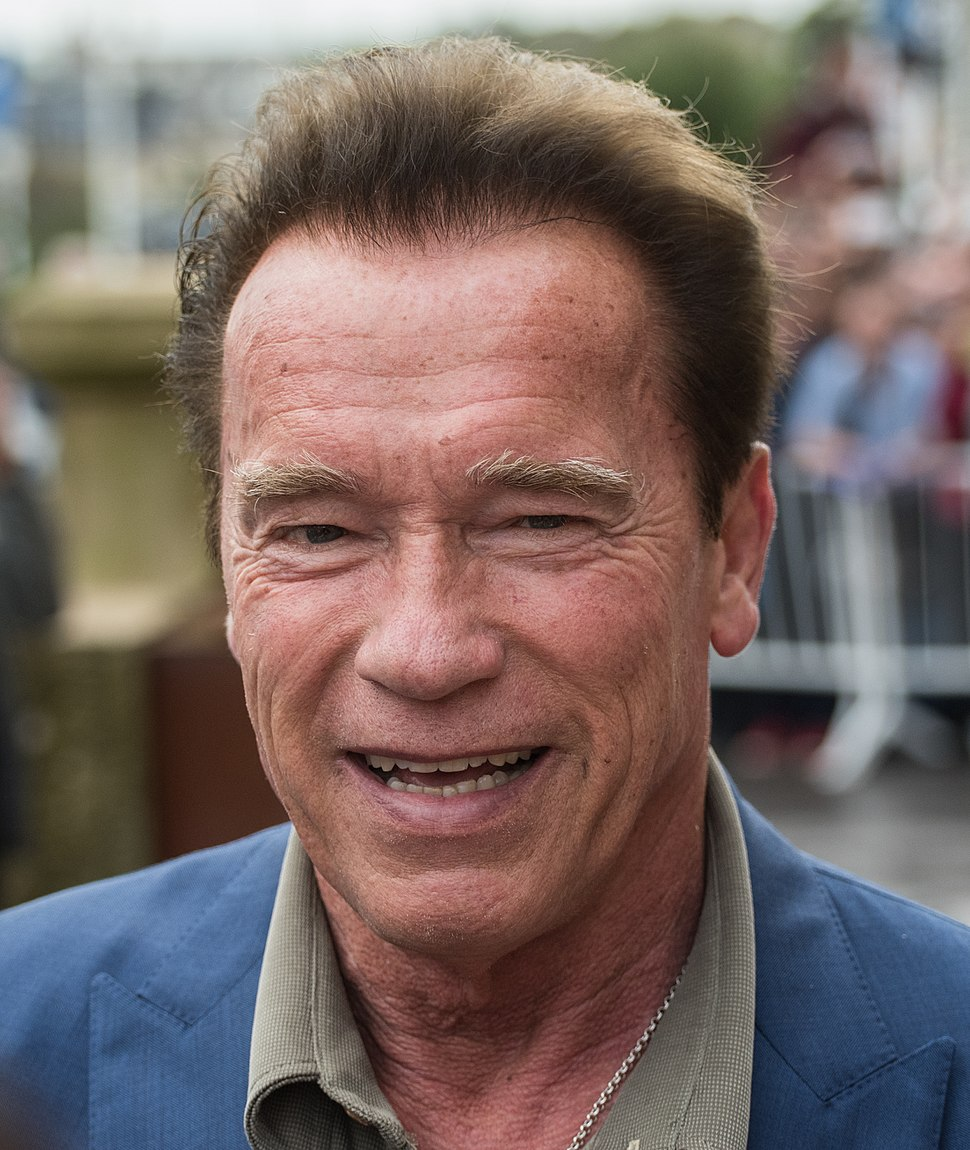 Photograph of the shoulders and head of Arnold Schwarzenegger with a blurry background