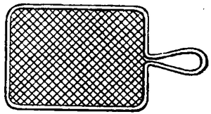line drawing of a flat, square sieve.