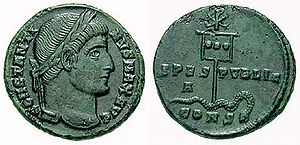 Labarum - A coin of Constantine (c. AD 337) showing a depiction of his labarum spearing a serpent.