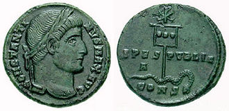 Political warfare - A coin of Constantine (c.337) showing a depiction of his labarum spearing a serpent.