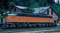 Avery, Idaho Little Joe GE electric locomotive CMStP&P RR 1974.jpg