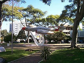 Canoas - Model of F-8 Gloster Meteor plane display in Santos Dumont Park (Praca Santos Dumont)
