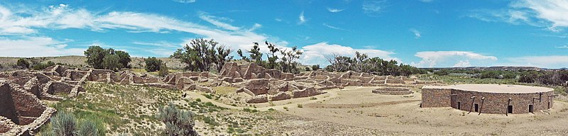 A color panorama of a large sandstone ruin