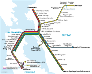 BART Weekdays and Saturday System Map, Effective February 11th, 2019